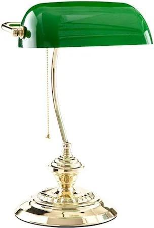 Luminária De Mesa Metal Vidro Verde Banker