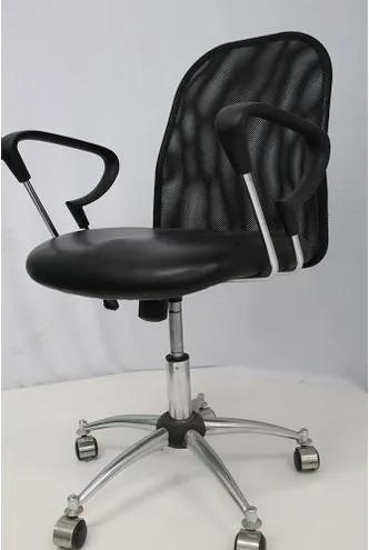 Cadeira Office OUTLET Flex Estofada Baixa Preta Cromada - 10 Sun House