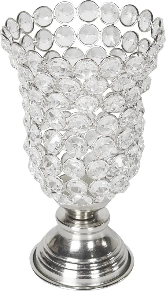 Castiçal em Alumínio Prata e Cristais 19 cm x 12 cm