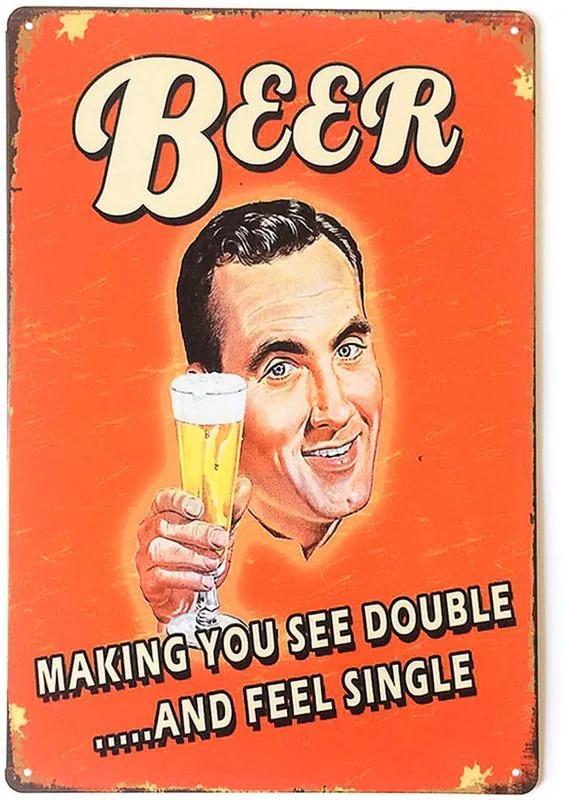 Placa Decorativa de Metal Beer Making You See Double 30 x 20 cm