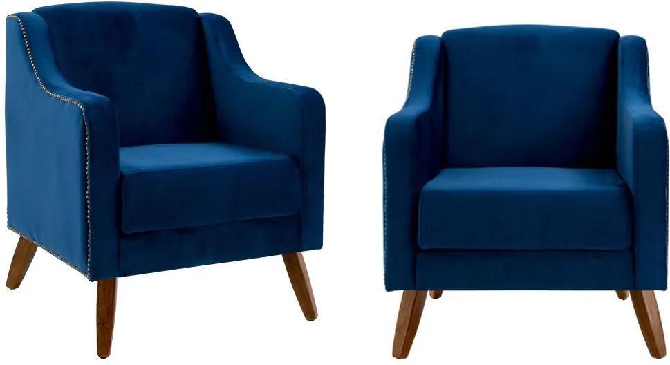 Kit 02 Poltronas Decorativas Sala de Estar Pés de Madeira Hana Veludo Azul - Gran Belo
