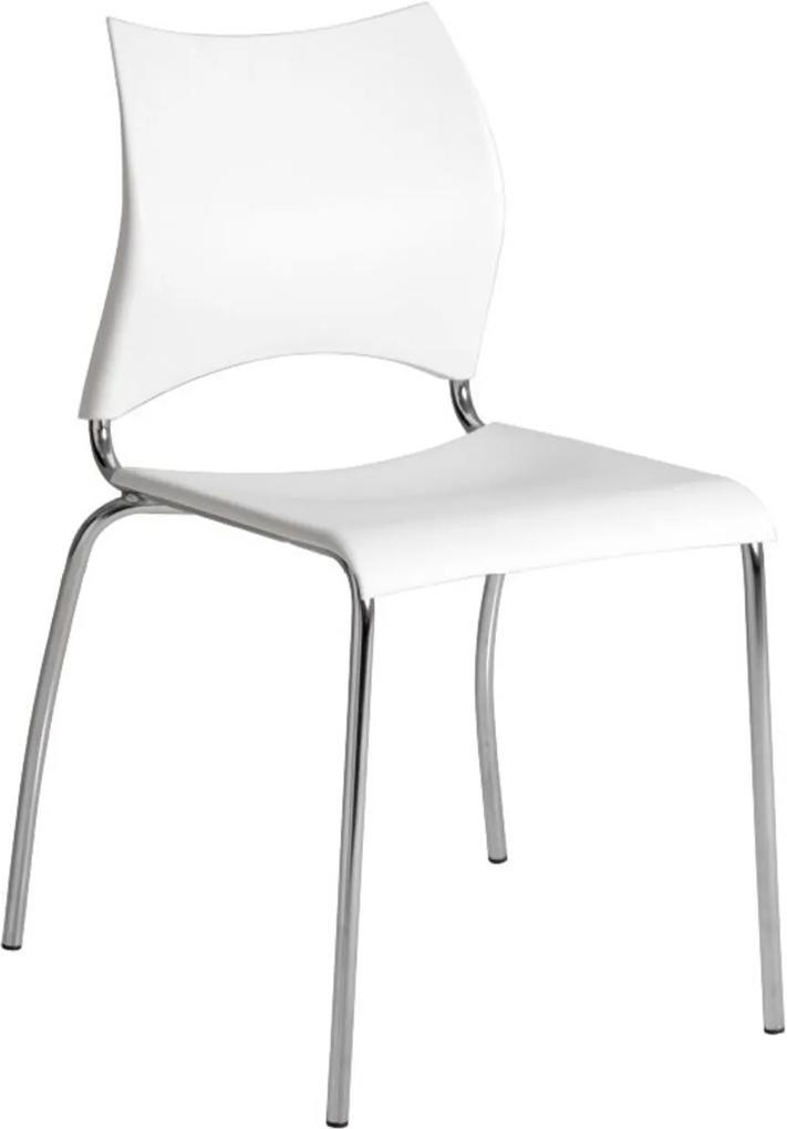 Cadeira Tubo Cromado Assento Branco Carraro