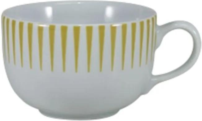 Xícara Café com Pires 100 ml Porcelana Schmidt - Dec. Sol Amarelo