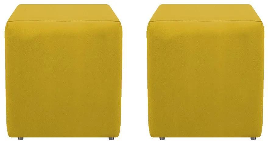 Kit 02 Puffs Decorativos Dado  Suede Amarelo - ADJ Decor