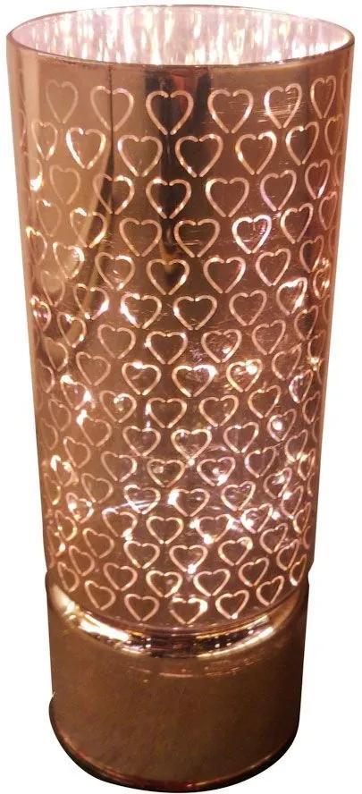 Luminária de Vidro Led Hearts Rosa Dourado G