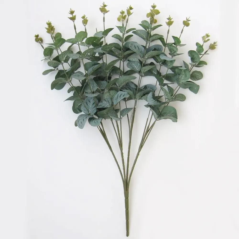 Buquê de Eucalipto Flor Artificial Fosco 50cm Parece Natural