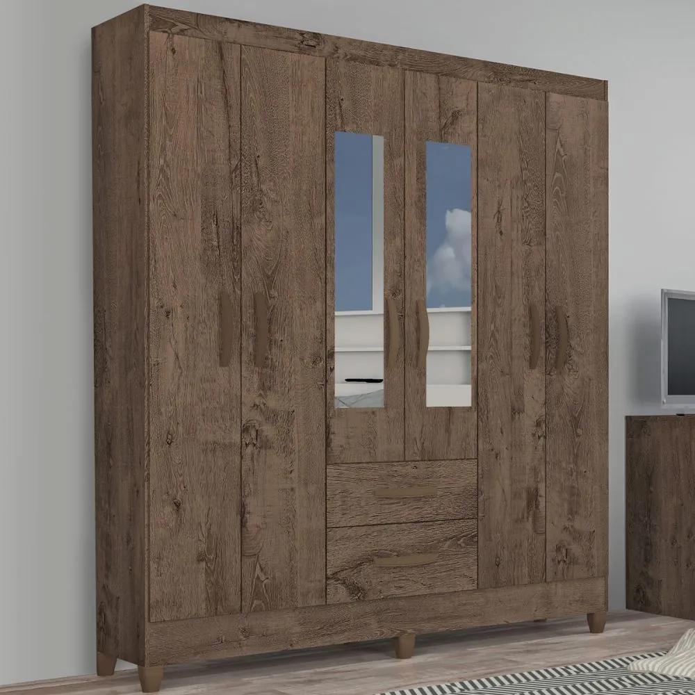 Guarda-Roupa Solteiro Real 6 Portas 2 Gavetas com Espelho Mocaccino Rústico - Atualle Móveis
