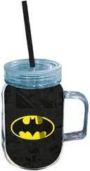 Caneca com Canudo Batman Logo Preta e Amarelo Dc Comics