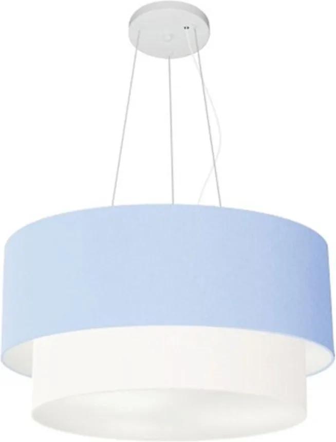 Lustre Pendente Duplo Cilíndrico Vivare Md-4061 Cúpula Tecido 50x40cm - Bivolt - Azul Bebê / Branco - 110V/220V (Bivolt)
