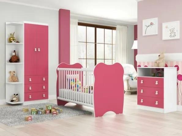 Quarto de Bebê Completo: Guarda-roupa + Cômoda com 3 Gavetas + Berço- Rosa/Branco