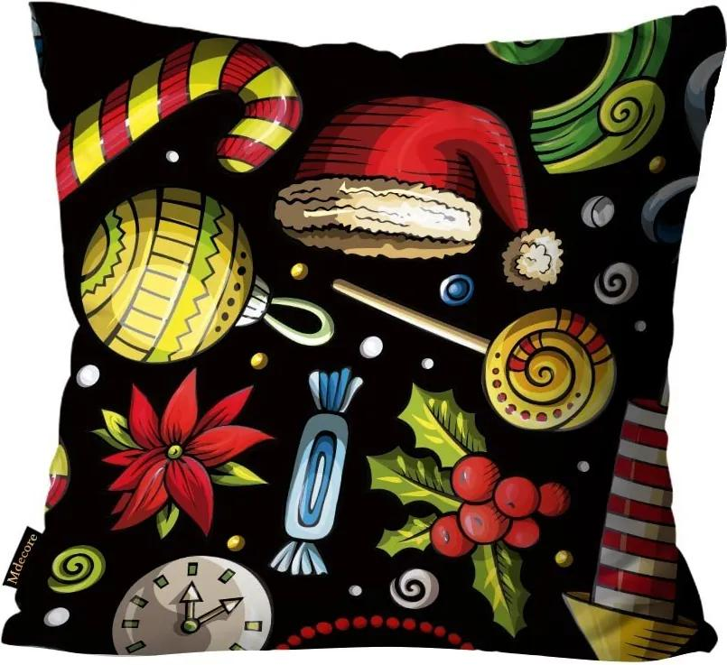 Capa para Almofada Premium Cetim Mdecore Natal Touca Papai Noel Preta45x45cm