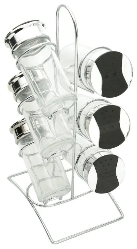 Jogo 6 Porta Condimentos De Vidro Com Tampa Plástica Suporte Metal Tinno 14x10x29cm 26891 Bon Gourmet