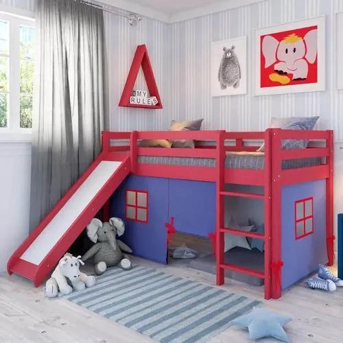 Cama Alta Kids com Escorregador e Cabaninha Azul - Vermelho