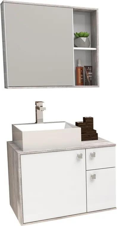 Conjunto De Banheiro Caeté 60 Com Cuba Cubo Cozimax Branco/calcare