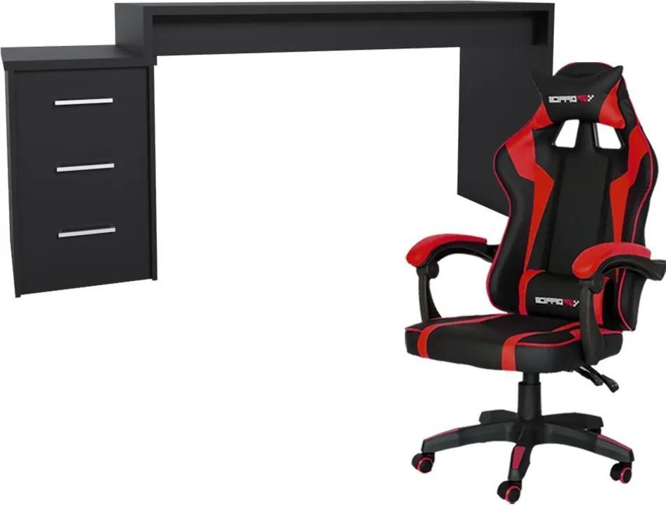 Conjunto PlayerXtreme PRO Mesa Preto Texturizado e Cadeira Gamer Vermelho - Gran Belo
