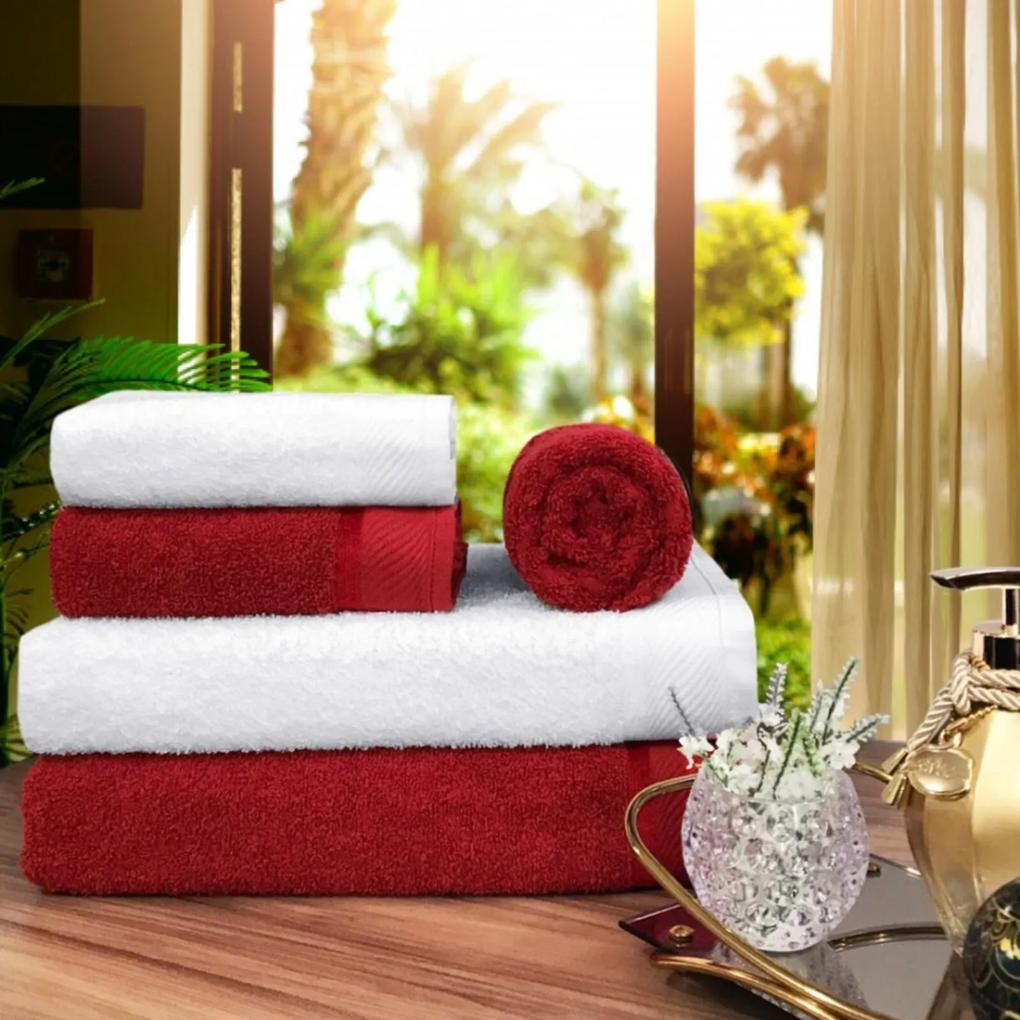 Toalha de Banho 100 Algodão Penteado jogo com 2 Banhão 2 Rosto e 1 Piso Vermelha e Branca