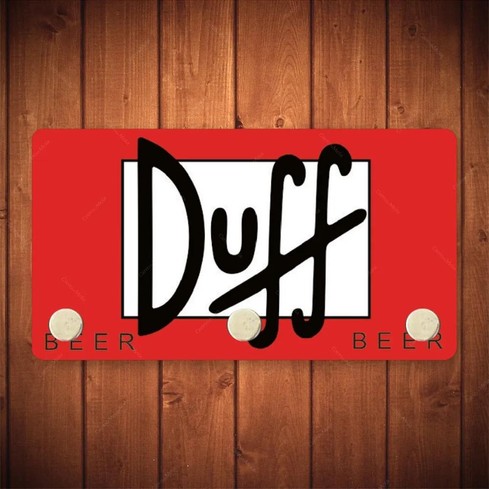 Porta-Chaves Duff Beer Vermelho - 3 Ganchos - em Metal - 14,5x8 cm