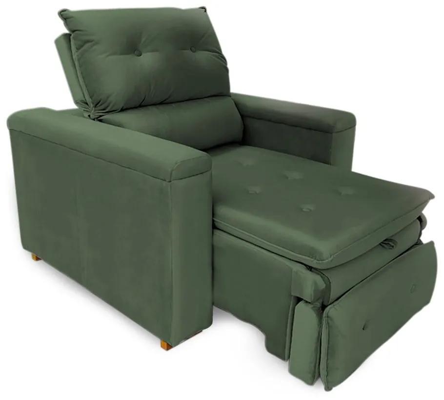 Poltrona Reclinável Retrátil Onix Veludo Verde - Sheep Estofados - Verde escuro