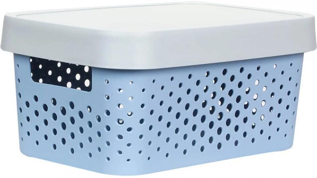 Caixa Organizadora M C/ Tampa - 11L - 35Cm X 25,5Cm X 13,5Cm - Container Blue