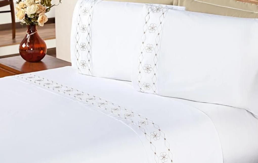 Jogo de Cama Damasco Queen Branco e Bege Bordado Flores com 4 peças - Aquarela,