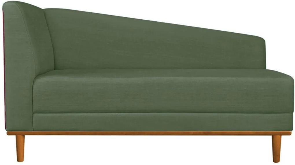 Recamier Monet Composê Sintético Vermelho com Linho A66 Verde Militar Base de Madeira - D'Rossi