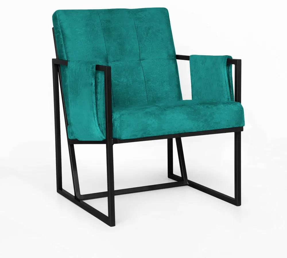 Poltrona Megan Luxo  Decorativo Base Preto Suede Azul Tiffany