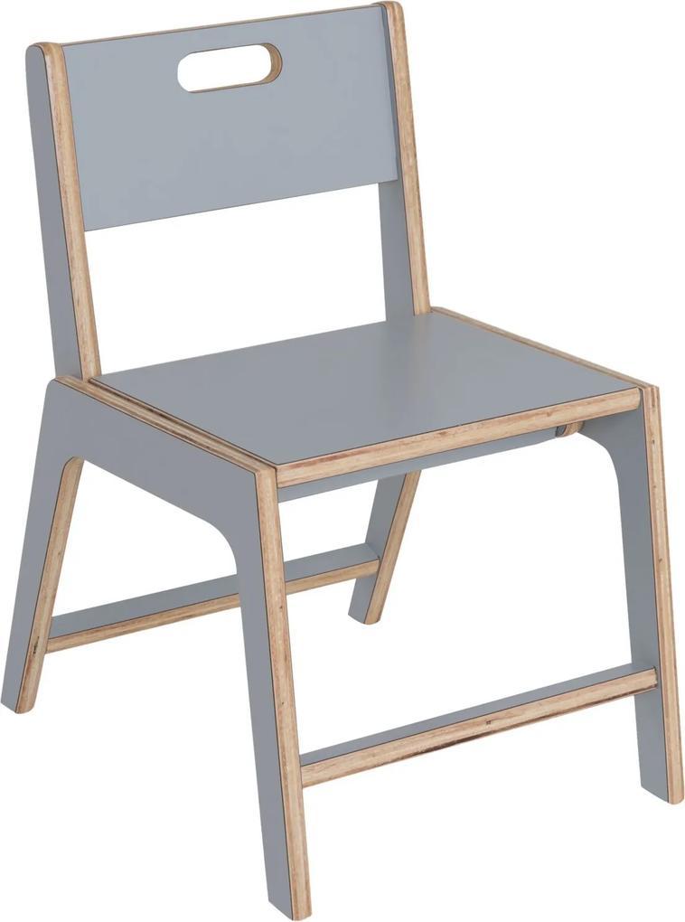 Cadeira de Jantar Infantil Lis Compensado Cinza Linha Bloom