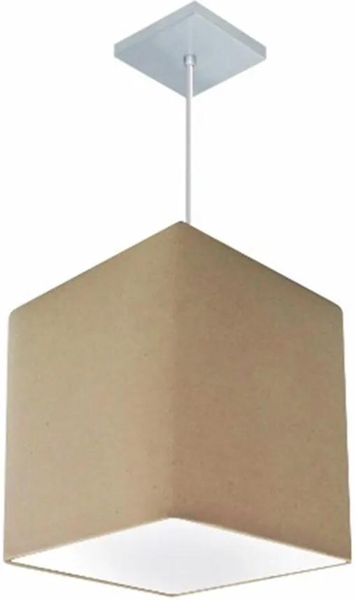 Lustre Pendente Quadrado Md-4051 Cúpula em Tecido 31/25x25cm Algodão Crú - Bivolt