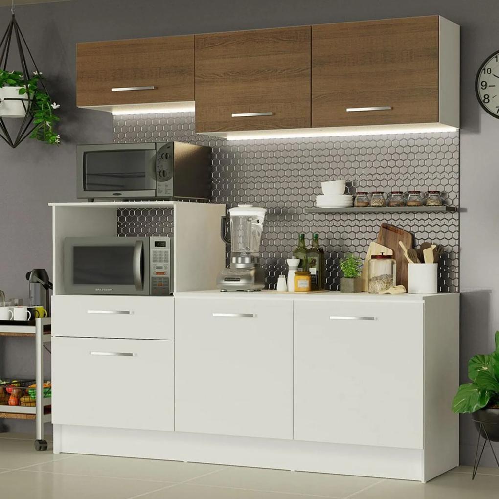Cozinha Compacta Madesa Onix 180001 com Armário e Balcão Branco