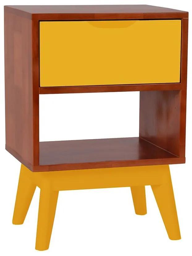Mesa de Cabeceira Império Amarelo - Wood Prime MP 221044
