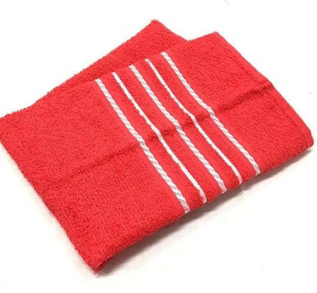 Toalha de Rosto Com Barras Teka Escala Vermelha 280g/m²