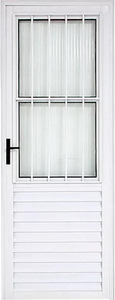 Porta Social de Alumínio 210x080 Branca Esquerda - 10002 - Esquadriart - Esquadriart