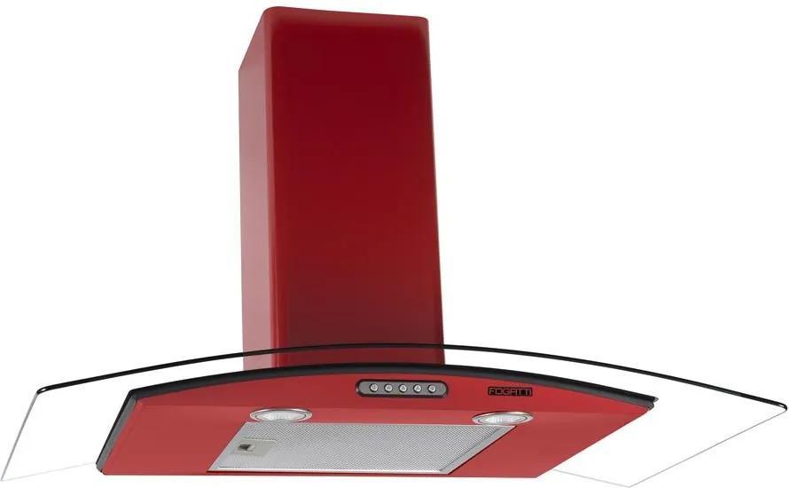 Coifa de Parede Vidro Curvo Duto Slim 90 cm 127v Vermelha - Fogatti