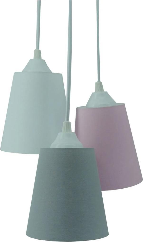 Lustre Pendente Luminária Cacho Tecido Liso Cinza, Rosa e Branco