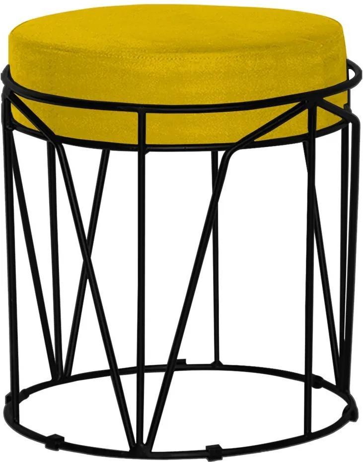 Puff Decorativo Sala de Estar Base Preto Chloe Suede Amarelo - Gran Belo