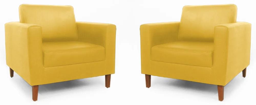 Conjunto 2 Poltrona Decorativa Gabriela Suede Amarelo