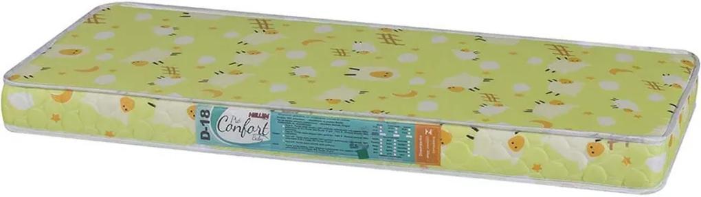 Colchão Para Berço Pro Confort Baby D18 Verde Liso 60X130X10 Hellen