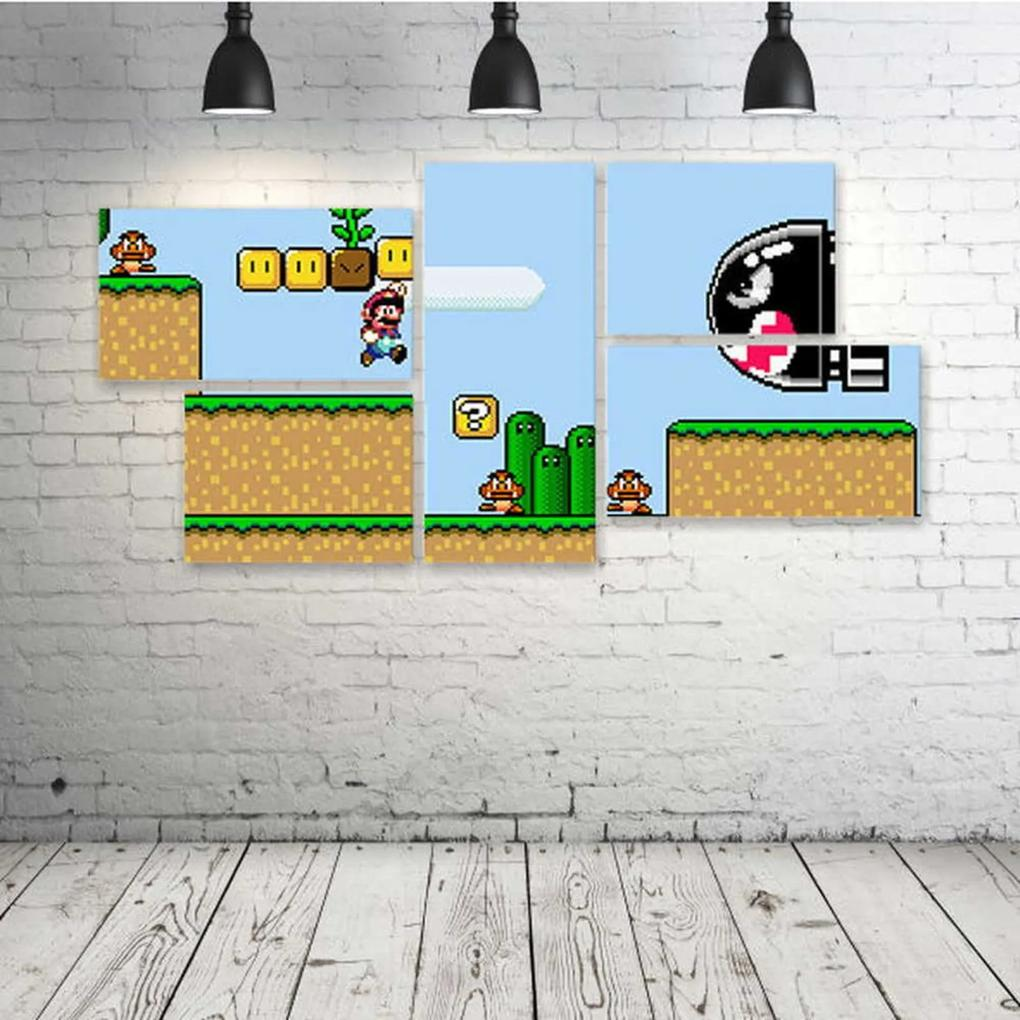 Quadro Decorativo - Super-Mario-World - Composto de 5 Quadros