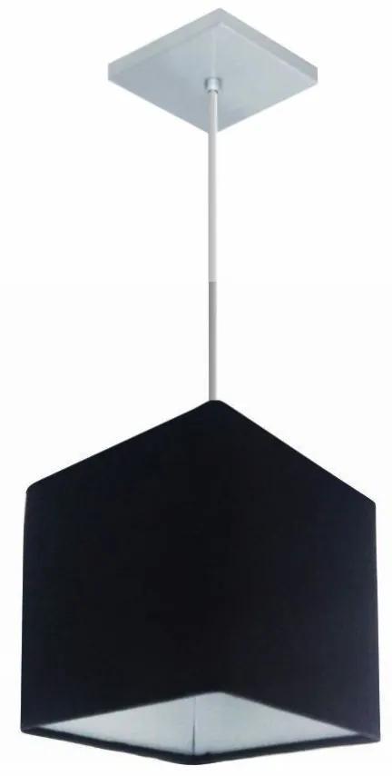 Lustre Pendente Quadrado Md-4224 Cúpula em Tecido 16/16x16cm Preto - Bivolt