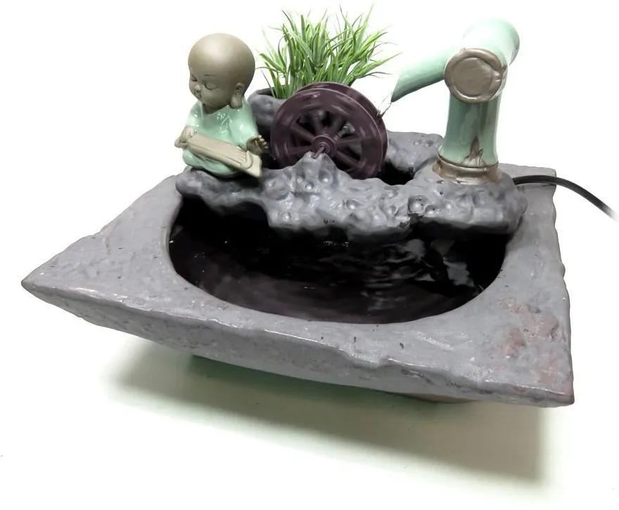 Fonte de Água com Monge em Cerâmica e Monjolo - 220v