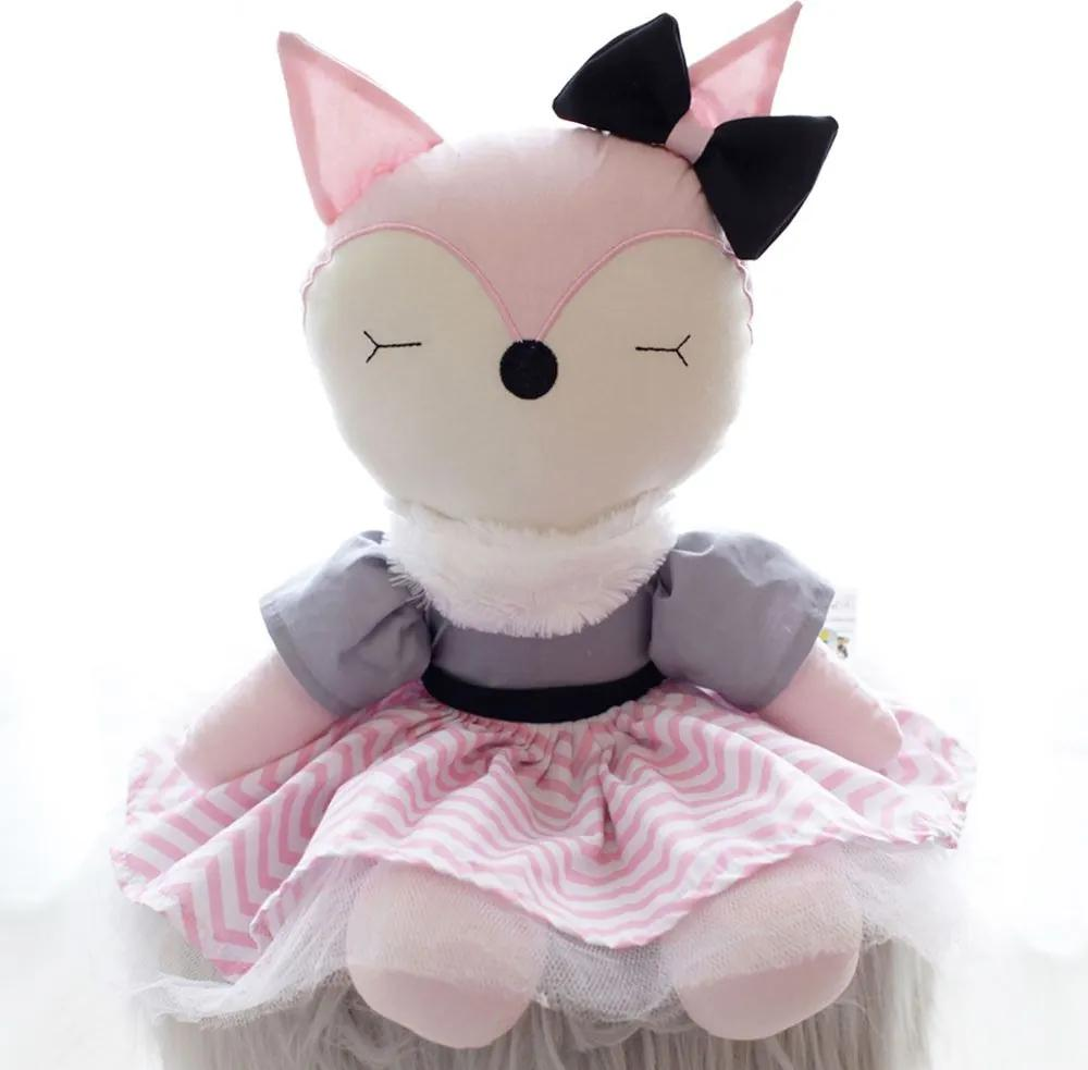 Boneca Raposa Tricoline Vestido Chevron com Tule e Laço Rosa Cinza e Preto