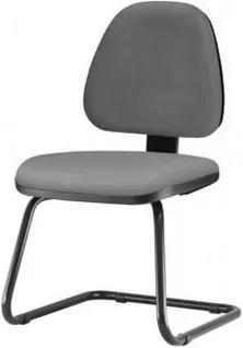 Cadeira Sky Assento Courino Cinza Escuro Base Fixa Preta - 54837 Sun House