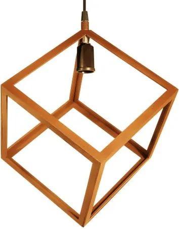 Luminária Pendente Cubo Aramado de Madeira Caramelo - Soq: E27 / Tam: 20x20cm