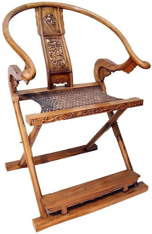 Cadeira Dobrável em Madeira Beijing Antique Natural