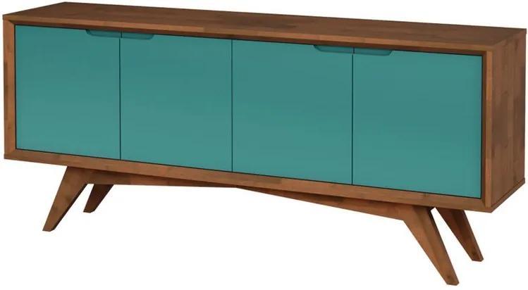 Buffet Querubim 4 Portas Pinhão e Turquesa - Wood Prime MP 27604