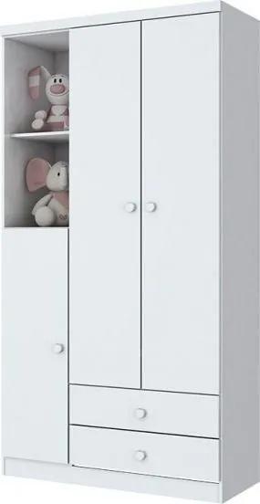 Roupeiro Infantil Bala de Menta 3 Portas 2 Gavetas - Branco