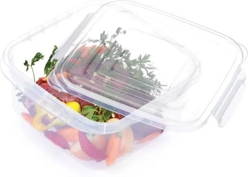 Pote Plástico Microondas Freezer Quadrado Com Trava P 360ml