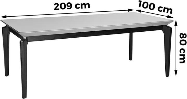 Mesa De Jantar Cindy 209cm X 100cm P/ 8 Lugares C/ Vidro Branco Gloss