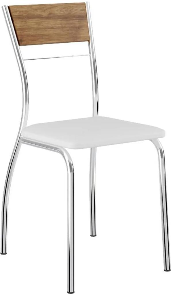 Cadeira Tubo Cromado Encosto Native Napa Branca Carraro