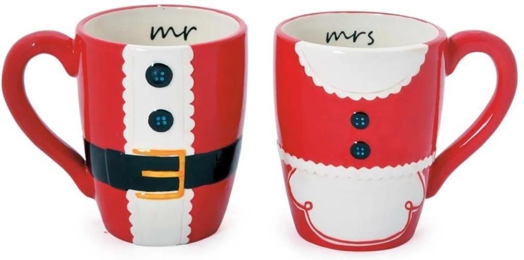 Caneca Chá Café Papai Noel Natal Cerâmica Vermelha